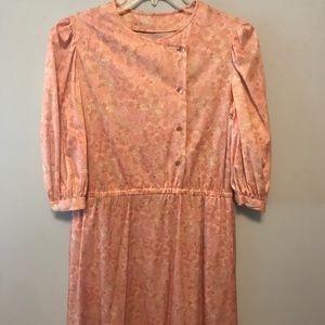 80's Vintage Silky Pink Floral Dress